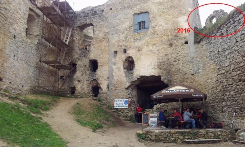 Združenie na záchranu Lietavského hradu zastabilizuje a čiastočne obnoví poškodenú strieľňu.