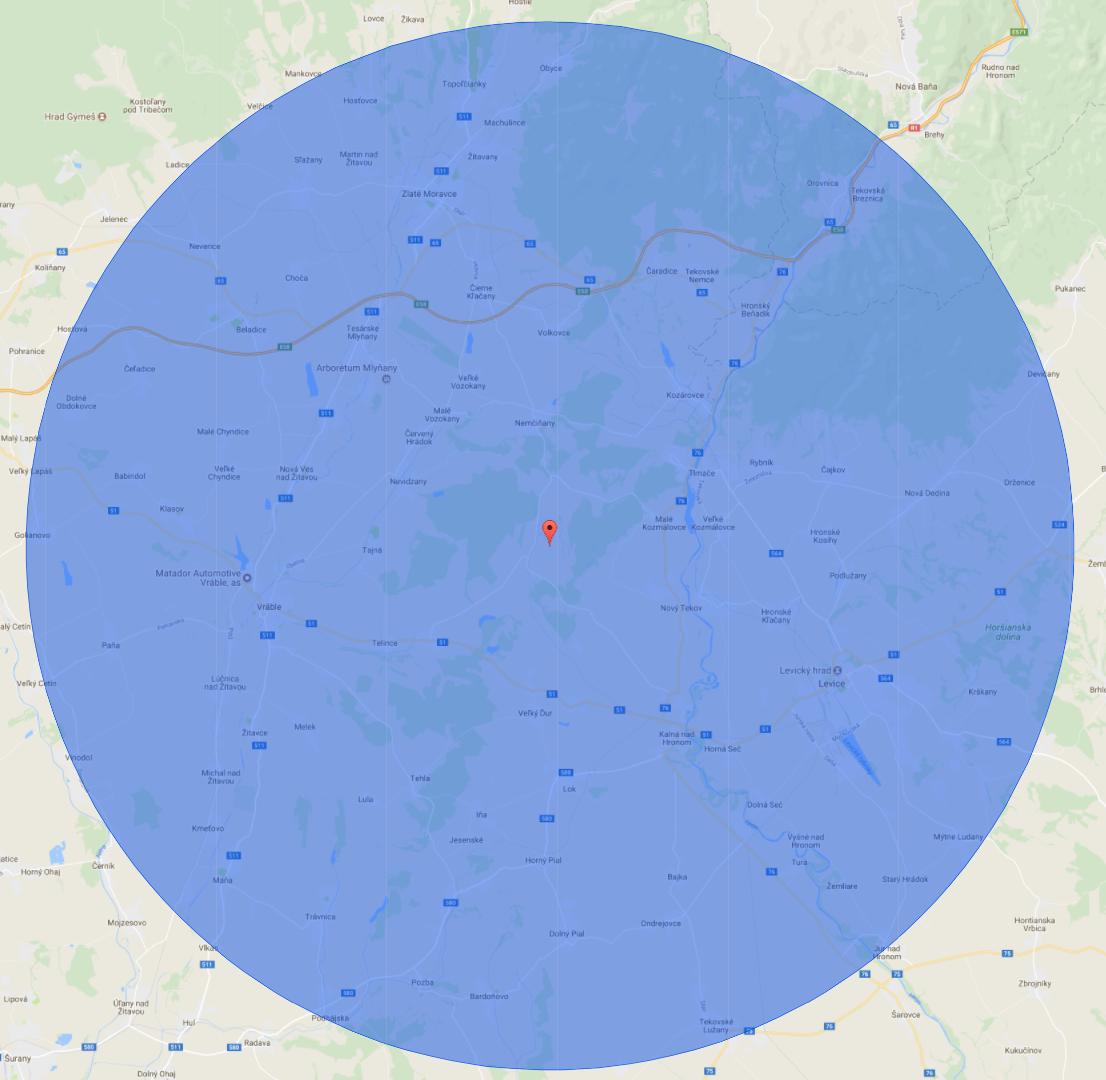Rádius 20 km od AE Mochovce. Obce a mestá z tejto oblasti môžu žiadať o grant.